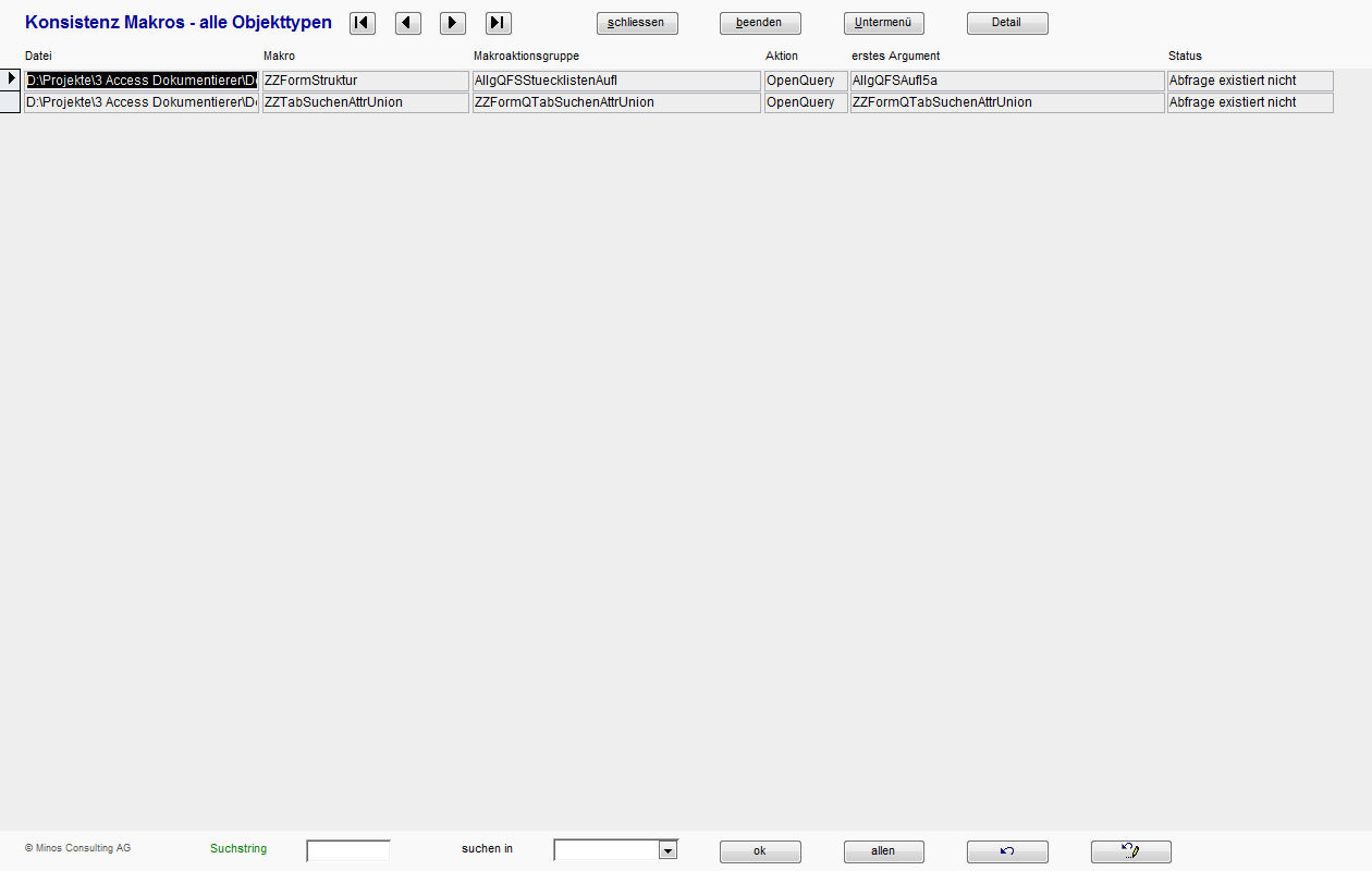Datenbank-Dokumentierer - Screenshots der Benutzeroberfläche Teil 2